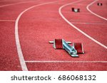 sprinting start block | Shutterstock . vector #686068132