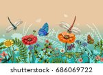 Stock vector vector vertical border with dragonflies butterflies flowers grass and plants summer style 686069722