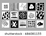 doodled creative black and... | Shutterstock .eps vector #686081155