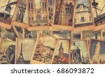 vintage photo cards collage on... | Shutterstock . vector #686093872