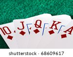 royal flush in diamonds on the... | Shutterstock . vector #68609617