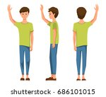 vector illustration of three... | Shutterstock .eps vector #686101015