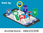 different mobile applications... | Shutterstock . vector #686102308