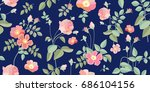 Small Vintage Roses. Seamless...