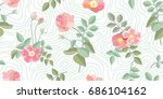 traditional vintage roses.... | Shutterstock .eps vector #686104162