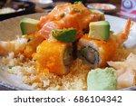 japanese food   sushi nigiri  ... | Shutterstock . vector #686104342