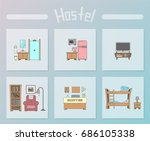 hand drawn hostel set | Shutterstock .eps vector #686105338
