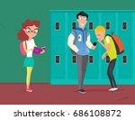 high school vector banner. cute ... | Shutterstock .eps vector #686108872