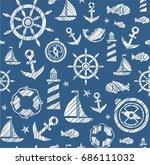 nautical background  seamless ... | Shutterstock .eps vector #686111032