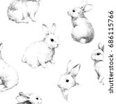 Stock photo drawing with rabbits collage cute fuzzy pattern pencil sketch 686115766