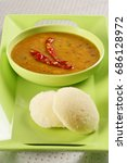 Small photo of Sambar and Idli with Chutney Indian Dish