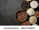 set of various rice in bowls ... | Shutterstock . vector #686130892