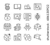 online education line icon set. ... | Shutterstock .eps vector #686130922