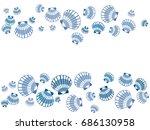 Blue Seashell Frame Vector Eps...