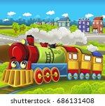 cartoon funny looking steam... | Shutterstock . vector #686131408