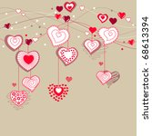 valentine greeting card with... | Shutterstock .eps vector #68613394