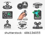 set of hand fidget spinner... | Shutterstock .eps vector #686136055