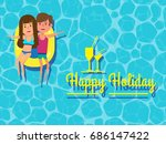happy couple holiday on... | Shutterstock .eps vector #686147422