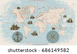 hand drawn vector world map... | Shutterstock .eps vector #686149582