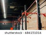horizontal bar in loft big... | Shutterstock . vector #686151016