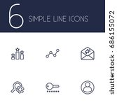 set of 6 search outline icons...