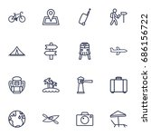 set of 16 travel outline icons... | Shutterstock .eps vector #686156722