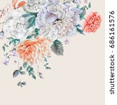 vintage watercolor bouquet with ... | Shutterstock . vector #686161576