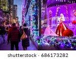 new york december 7  tourists... | Shutterstock . vector #686173282