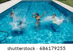 young friends having fun in the ... | Shutterstock . vector #686179255