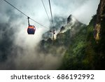Cable car way to tianmen...