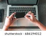 online shopping. female hands...   Shutterstock . vector #686194012