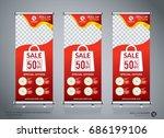 roll up sale banner design... | Shutterstock .eps vector #686199106