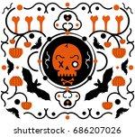 halloween background in flat... | Shutterstock .eps vector #686207026