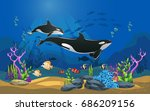 vector illustration of the sea. ...