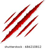 red claws scratches with animal ... | Shutterstock .eps vector #686210812
