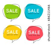 Set of flat speech bubble shaped banners, price tags, stickers, badges. Vector illustration. | Shutterstock vector #686211466