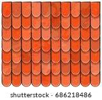 roof tiles texture beautiful... | Shutterstock .eps vector #686218486