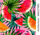 natural pattern with tropical... | Shutterstock . vector #686227882