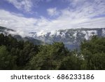 nordic nature  landscape and... | Shutterstock . vector #686233186