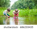 two little sibling brothers... | Shutterstock . vector #686233435