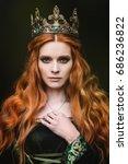 ginger queen near the castle | Shutterstock . vector #686236822