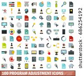 100 program adjustment icons... | Shutterstock . vector #686254192