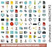 100 program adjustment icons... | Shutterstock . vector #686254192