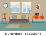 mid century furniture room... | Shutterstock .eps vector #686265346