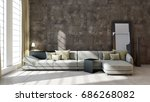 modern bright living room ... | Shutterstock . vector #686268082