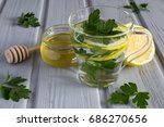 tea with parsley  honey and... | Shutterstock . vector #686270656