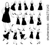 set of many silhouettes of slim ... | Shutterstock .eps vector #686271142