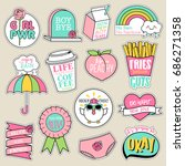 set of fashion patches  cute... | Shutterstock .eps vector #686271358