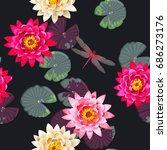 seamless carps and lotus | Shutterstock .eps vector #686273176