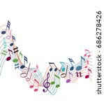 music notes on a solide white... | Shutterstock .eps vector #686278426